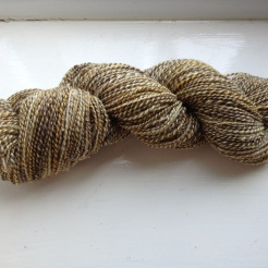 Bees Skein - 2 plies Jacob's humbug brown/white & 1 ply of a Hilltop cloud blend (merino, soy, sparkle)